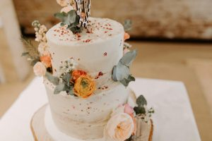 Two Tier Orange Flower Cake